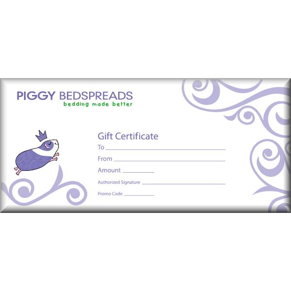 Gift certificate piggybedspreads fleece cage bedding shop gift certificate negle Choice Image